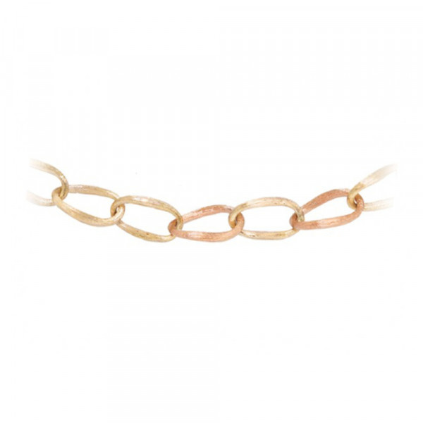 Ole Lynggaard Love bracelet yellow gold 750/- and 3 links in rosegold 750/-, satinized, 19&#